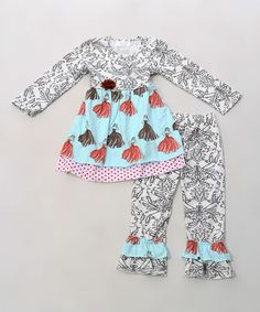 Loving this Blue Damask Ruffle Tunic & Pants - Infant, Toddler & Girls on #zulily! #zulilyfinds