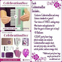 Celebration Box by Jamberry! A perfect box full of everything you need for girls birthday parties, girls night, Bachelorette party, or even just a fun spa day with your closest girlfriends!! www.jessishaeyy.jamberrynails.net