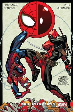Spider-Man-Deadpool Vol. 1 – Isn't It Bromantic (31.08.2016) // The Webbed Wonder and the Merc with a Mouth are teaming up for their first series EVER! It's action, adventure and just a smattering of (b)romance in this episodic epic featuring the WORLD'S GREATEST SUPER HERO and the star of the WORLD'S GREATEST COMICS MAGAZINE. Talk about a REAL dynamic duo! COLLECTING: SPIDER-MAN/DEADPOOL #1-5, #8.  #deadpool #spiderman #marvel