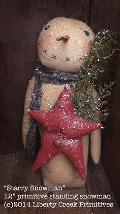 Primitive Starry Snowman Epattern Instant Download by Liberty Creek Primitives patterns,  $7.50