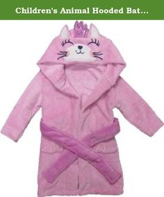 Children's Animal Hooded Bath Robe - Princess Cat (4T-6T). Your little girl will love this adorable plush pink princess cat bathrobe from Kreative Kids. The thick super soft 100% Polyester materials this robe is made up with are hypoallergenic & perfect to keep your child nice and warm after bathtime. This robe closes with an attached soft plush tie belt in the front and has a partial elastic waist at the back. It's designed to resemble a cute princess cat with embroidered facial features...