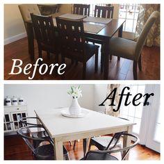 Easy DIY farmhouse table makeover - check the blog!