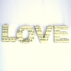 LOVE Door Sign Mounted Lettering Sheet Music Wedding Present Custom Home Decoration Wall Decal Decor Ornament. $48.00, via Etsy.