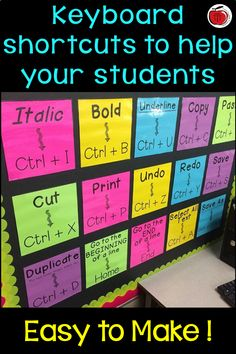 Help your students navigate computer technology using these 20 keyboard shortcuts! Easy to make post Classroom Bulletin Boards, Classroom Posters, Classroom Displays, Classroom Organization, Classroom Management, Technology Bulletin Boards, Classroom Decor, Music Classroom, Computer Lessons