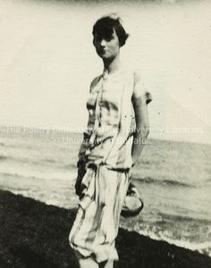 Lucia Joyce standing on beach at Ostend