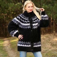 Fuzzy 100% Hand knitted mohair cardigan in Icelandic pattern, size S, M, L, XL
