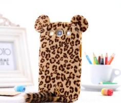 Hot Brown Leopard Series Plush Fur Tail Leopard Back Case Cover for Samsung Galaxy S3 III i9300/S4 i9500/Note 2/Note 3