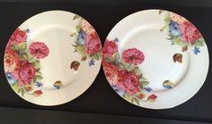 Grace's Teaware Dinner Plate~Pink Peony Flowers & Butterfly~Gold Trim #GracesTeaware