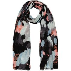 Kin by John Lewis Brush Stroke Scarf, Multi featuring polyvore fashion accessories scarves print scarves patterned scarves viscose scarves