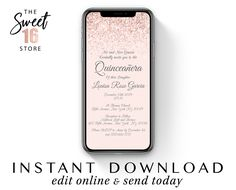Rose Gold Quinceanera Elegant Text Invitation, Blush Pink Glitter Quince SMS Message Invitation e vite, Editable Instant Download Template Text Message Invitations, Sweet Text Messages, Guy Best Friend, Sweet Texts, Sms Message, Cute Couple Quotes, Just Girly Things, Reasons To Smile, Sweet Sixteen