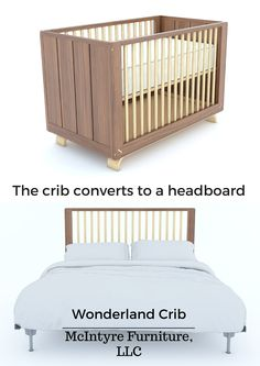 Wonderland Crib by McIntyre Furniture, LLC. Female woodworker, artist, and business owner Kim McIntyre hand makes the Wonderland Crib in Seattle, WA. It is a modern design inspired by the elegant but comfortable nature of the pacific northwest living. A model of form and function, the crib can convert to both a toddler bed (additional piece sold separately) and a headboard for a full size mattress (included.) This heirloom piece will last for generations. Design collaboration with Trey Jones Full Size Mattress, Pacific Northwest, Cribs, Collaboration, Seattle, Wonderland, Modern Design, Toddler Bed, Woodworking