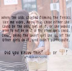 Dance Moms facts spam! (These are not made by me) I cried when I saw this. Poor Chloe! Abby is a witch and Chloe was so sweet she declined a great opprotunity