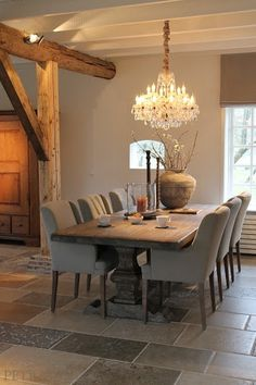 Belgian style kitchen w/ range under antique stone ... | Home inspira ...