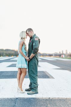 A Romantic and Patriotic Engagement Shoot at an Air Field | JoPhoto | See more! http://heyweddinglady.com/patriotic-and-romantic-air-force-engagement-from-jophoto-for-memorial-day/?