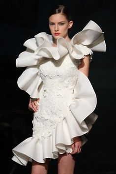 Stylized White Cocktail Gown