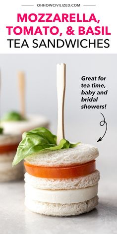 These mozzarella, tomato, and basil tea sandwiches are the perfect bite-sized treats for tea time, baby and bridal showers, and garden parties! They're also really easy to make - no cooking whatsoever involved! Learn how to make your own batch here; click to continue. High Tea Sandwiches, Finger Sandwiches, Sandwich Recipes, Snack Recipes, Basil Tea, Hot Tea Recipes, Tea Time Snacks, Garden Parties, Bridal Showers