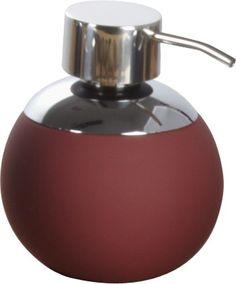 Großer und formschöner Seifen-/Lotionspender in rot aus Keramik mit Soft-Touch-Finish mit einer Füllmenge von 600ml. Der Pumpspender ist aus verchromten Metall. Gesehen für € 14,90 bei kloundco.de.