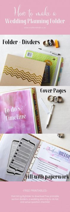 Wedding organiser folder and checklists - Get organised for your wedding and DIY a wedding planning folder. Here's some instructions and free printables to get you started: http://www.southernbride.co.nz/make-your-own-wedding-planning-binder/