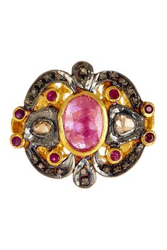 Pink Sapphire & Champagne Diamond Ornate Ring on HauteLook
