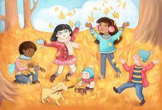 Autumn Leaves - Emily Emerson #autumn #fall #leaves #children #play #childrensbook #illustration #kidlitart #emilyemerson