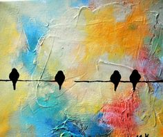 Birds on a wire 101 - original oil painting with texture, 12x9 inch - by Maria Kitano
