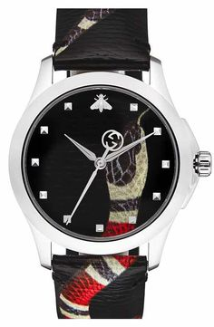 60d4384eaf4f Gucci Snake Insignia Leather Strap Watch, 40mm Swiss Made Watches, Gucci  Men, Snake