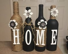 I custom make these wine bottles to any color or design you want. Sets include 4 bottles, each additional bottle is 7 dollars. Many colors to choose from some combinations are listed at lovetammyscrafts on Facebook or contact me here. If you are looking for another combination or style let me know. Makes great birthday gifts, wedding gifts, or shower gifts.  Look forward to hearing from you. thank you
