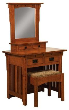 Amish Royal Mission Dressing Table and Bench Delightful dressing table that offers the royal treatment. Mission style slats and solid wood storage topped with a lovely mirror and paired with a cozy bench seat. #vanity #dressingtable