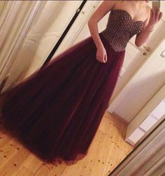 Tulle prom dresses,Burgundy prom dresses,Beaded A Line prom dress,Prom Gown…