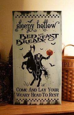 Sleepy Hollow Bed & Breakfast Painted Wood Primitive Halloween Sign Click her. Halloween Signs, Halloween Projects, Holidays Halloween, Vintage Halloween, Halloween Crafts, Happy Halloween, Halloween Decorations, Halloween Stuff, Halloween Ideas