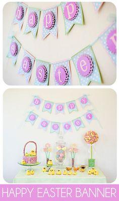 Super cute and easy Easter Banner Tutorial on { lilluna.com } #easter