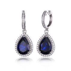 Fashion Women 10 6ct Sapphire Drop Earrings Dangle Solid 925 Sterling Silver NEW   eBay