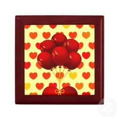 Red heart with balloons, gift box by PinkHurricane #Zazzle store :)
