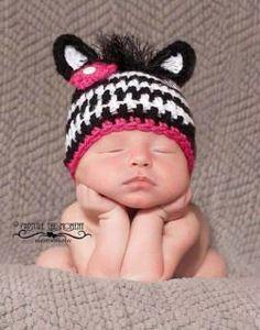 Crochet Zebra hat made to order.