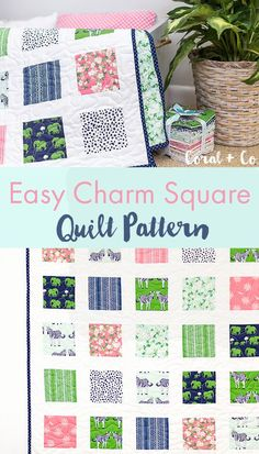 Easy Beginner Charm Square Quilt Pattern - Sew up quickly, Safari Party Blog Tour - Coral and Co..jpg