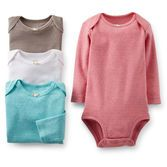 Textured pointelle cotton gives a girlish look to these bodysuits. A great value, our multi-packs are a mom's must have!