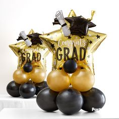 This Air-Filled Graduation Star Balloon Centerpiece Kit include black and gold latex balloons and foil gold star balloons featuring 'Congrats Grad' headlines. Decorate the tables at the grad party with balloon centerpieces created with this kit! Graduation Party Planning, Graduation Balloons, Graduation Party Decor, Grad Parties, Graduation Gifts, Graduation Ideas, Graduation Celebration, College Graduation, Graduation Table Centerpieces