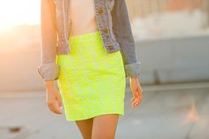 Floral neon Skirt, white tee and jean jacket