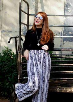 Look calça pantalona www.fashionmarigoes.blogspot.com.br