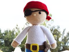 ***THIS IS A CROCHET PATTERN, NOT THE ACTUAL TOY*** Make your own Ben the Pirate with this CROCHET PATTERN. The pattern includes instructions on how to make a Pirate doll. This PDF pattern includes 13 pages with step by step instructions and 35+ photos, so you can crochet your own toy. Finished Ben is about 18 in. (45 cm.) tall. English Pattern Only. US Crochet Terms. For this pattern you need to have basic-intermediate crochet skills and to know how to read crochet patterns. You need ...