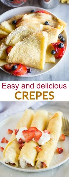 A step-by-step guide for How to Make Crepes in a skillet or frying pan. This easy crepes recipe includes filling options for sweet, savory, and breakfast crepes. #crepes #easy #recipe #filling #howtomake #tastesbetterfromscratch #dessert #breakfast #valentinesday via @betrfromscratch