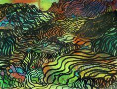 """Saatchi Online Artist: George Hunter; Pen and Ink, 2012, Drawing """"Terraced Landscape"""""""