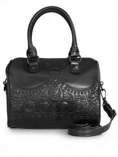 Embossed Bandana Skulls Gothic Bag by Loungefly Skull Fashion, Dark Fashion, Black Skulls, Fashion Bags, Purses And Bags, Diaper Bag, Satchel, Bandana, Handbags