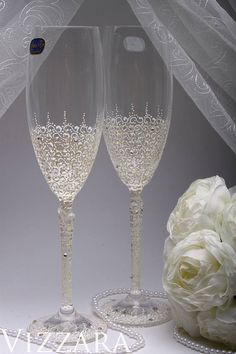 Verres à champagne mariage Ivoire verres ensemble peint à la