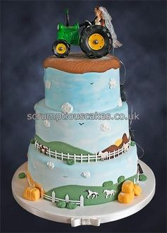 Farming Wedding Cake - sans tractor. Would make cute birthday cake.