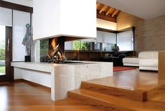 camino tre lati a vista gover-srl Modern Fireplace, Fireplace Design, Open Plan Living, Architecture, Interior Design Living Room, Kitchen Remodel, My House, Building A House, House Design
