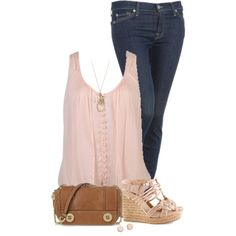 """Skinny Jeans and Wedges"" by daiscat on Polyvore"