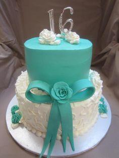 16th Birthday Cake For Girls, Sweet 16 Birthday Cake, Birthday Cakes, Girl Birthday, Tiffany Blue Cakes, Tiffany Sweet 16, Sweet Sixteen Cakes, Sweet 16 Cakes, Cupcakes