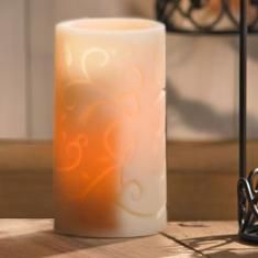 """#6756 ::: 6"""" FLAMELESS LUMINARY ::: Pretty ivory resin luminaries. Looks like a real candle; battery powered to provide a soft, amber glow with a flickering light. Perfect for protected outdoor use, water resistant and won't melt, crack, chip, or blow out in a breeze! Switch on and off as desired or turn timer on for six hours at the same time every day. $27.95 :: Contact Me With Your Order :: lynnebeveridge@myprincesshouse.com"""