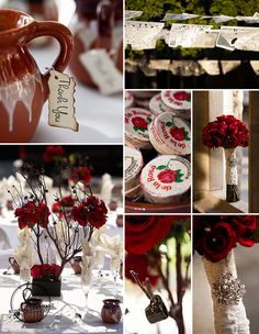 Real wedding inspiration board: Red Rose Fiesta Wedding Inspiration Board: Mazapan, clay pitcher favors with hand-burned thank-you notes, long-stemmed red rose bouquet, and Papel picado dancing in the sun.   Russell Gearhart Photography - www.gearhartphoto.com   Red wedding colors   Latino wedding   Wedding roses  